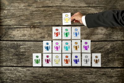 image of cards each depicting a person, arranged in a tree structure. Suggests an organizational tree